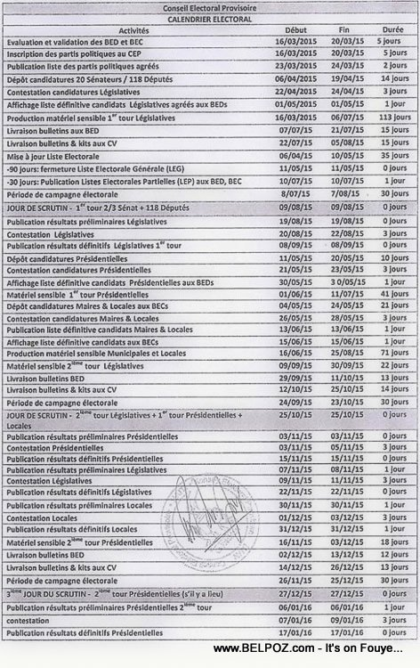 Haiti Elections - Calendrier Electoral 2015