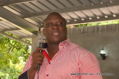 Willot Joseph speaking at a PHTK Pre-Campaign Meeting - Hinche Haiti