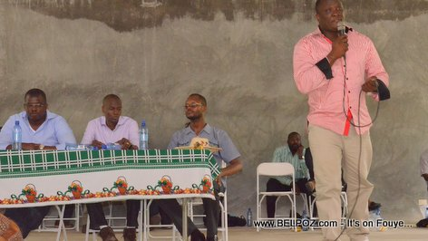 Willot Joseph speaking at a PHTK Pre-Campaign Meeting - Hinche Haiti