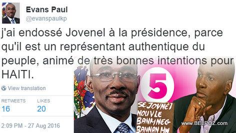 Evans Paul : J'ai Endossé Jovenel Moise a la Presidence