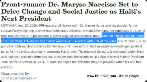 Maryse Narcisse Article on PRNewswire : I won the Presidential Elections