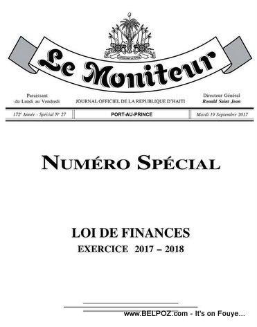 Haiti: Le Moniteur - Loi de Finance - Exercice 2017 - 2018