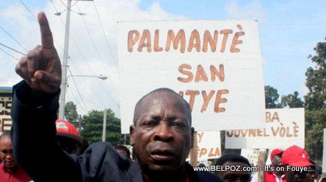 Haiti Politique: Danton Leger a la tete d'une manifestation contre le budget de Jovenel Moise