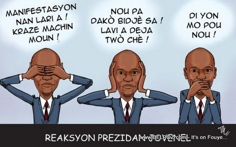 Haiti Caricature : President Jovenel Moise Avèg, Jovenel Soud, Jovenel Bèbè