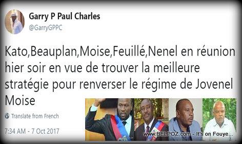 Gary Pierre Paul Charles Twitter - renverser le régime de Jovenel Moise