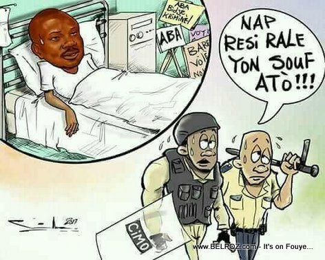 Haiti Caricature: Moise Jean Charles malade, la police kontan