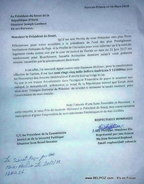 Copie: Lettre de Guy Phillipe au President du Senat Haitien. Demande de $125000 US