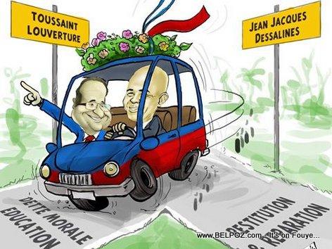 PHOTO: Haiti Caricature - Francois Hollande, Michel Martelly