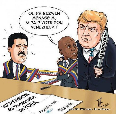 Haiti Caricature: Did Donald Trump pressure President Jovenel to go against Venezuela or else?