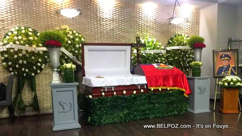 General Henri Namphy laying in his coffin before being buried in the Dominican Republic