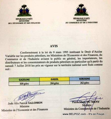 AVIS: Les Prix du Gazoline, Gasoil et Kerosene en Haiti a partir du 7 Juillet 2018