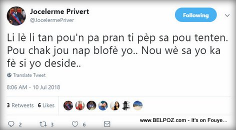 President Jocelerme Privert Tweet After gas price hike street protests