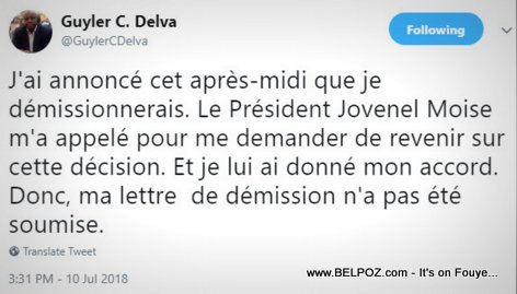 Guyler C. Delva tweet he changed his mind about resigning as Minister of Communicaiton