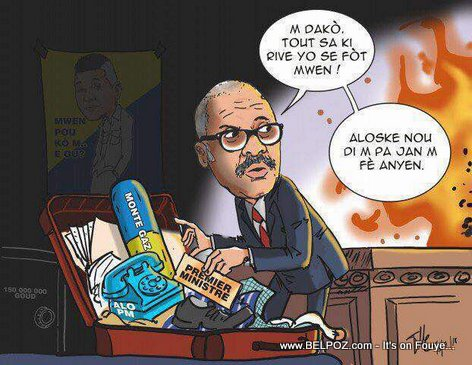 Haiti Caricature : Prime Minister Jack Guy Lafontant is packing his bags