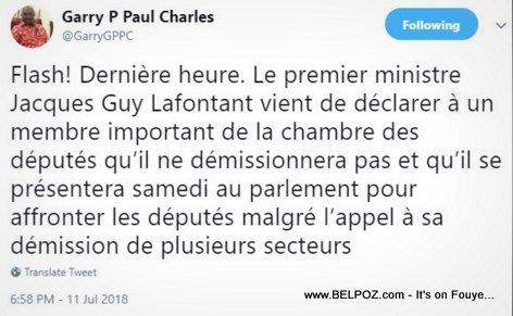 Garry Pierre Paul Charles tweet : Le premier ministre Jacques Guy Lafontant ne démissionnera pas