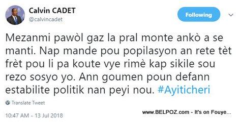 Haiti Communication DG Calvin Cadet tweet: Mezanmi pawol gaz la pral monte anko a se manti