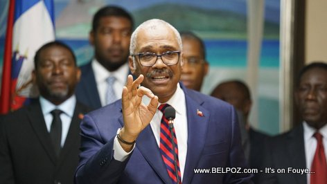 Haitian prime minister Jack Guy Lafontant making a precision during a press conference