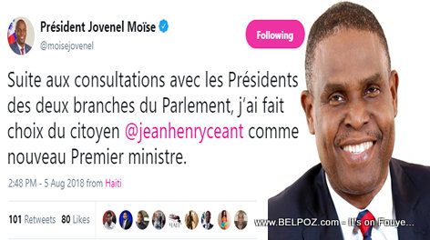President Jovenel tweets his choice for Prime Minister, it's Jean-Henry Ceant