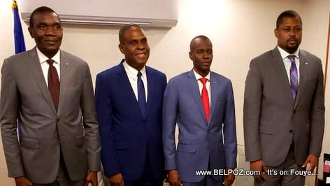 PHOTO: Prime Minister Henry Ceant, President Jovenel, Lambert and Bodeau