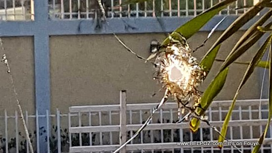 PHOTO: Clearly, a Bullet Hole at the Front Door of Haiti Parliament Building