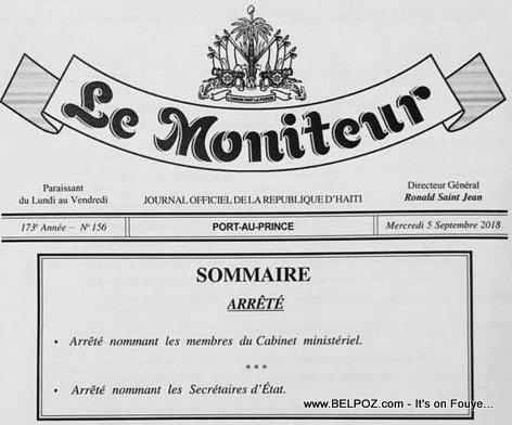 Haiti - Arrete presidentiel nommant les Membres du Cabinet Ministeriel (administration Moise-Ceant)