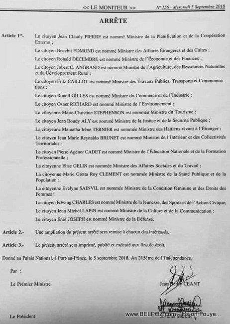 Haiti - Liste des Ministres du gouvernement du Premier Ministre Nommé Jean Henry Céant