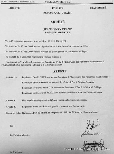 Haiti - Liste des Secretaires d'Etat du gouvernement du Premier Ministre Nommé Jean Henry Céant