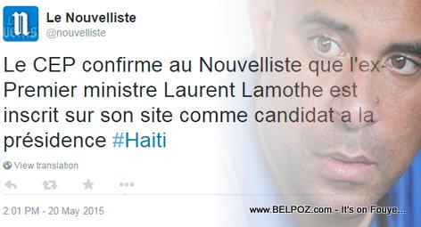 Le Nouvelise Confirme: Laurent Lamothe Candidat a la Présidence - Haiti