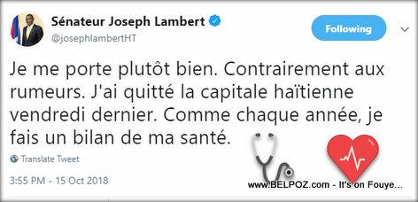 Haiti Senator Joseph Lambert criticized about his medical trip to the Dominican Republic. Read about it here...