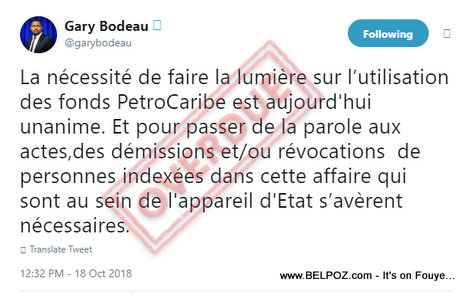 Depute Gary Bodeau Tweet: Dossier PetroCaribe - Time to fire some government officials