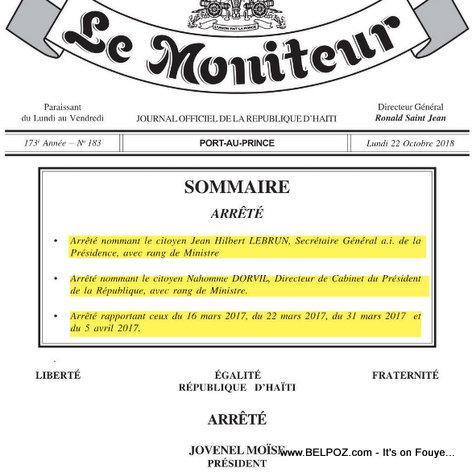 Haiti: Le Moniteur arrêté en date du 22 octobre 2018