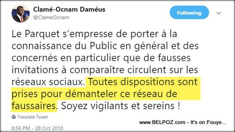 Clamé-Ocnam Daméus - Twitter - Démanteler ce réseau de faussaires