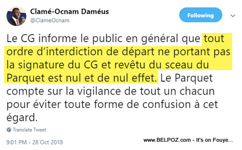 Clamé-Ocnam Daméus - Twitter - Faux Interdiction de Départ