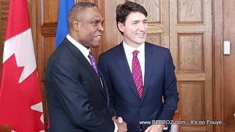 Haitian Prime Minister Henry Ceant in Canada with Justin Trudeau