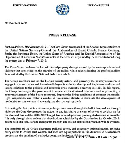 CORE Group statement on the ongoing turbulence in Haiti - Feb 10 2018