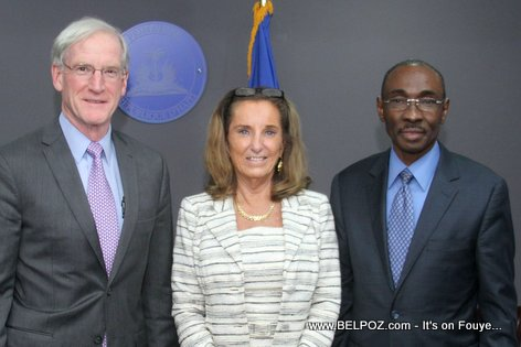 Thomas Adams, Pamela White, Haiti PM Evans Paul