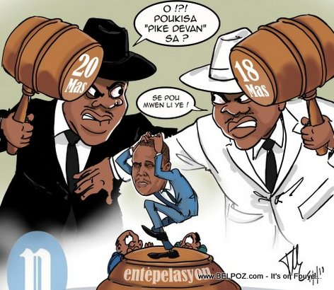 Haiti Caricature - Haitian Senators and Deputes fighting over Interpellation of PM Ceant