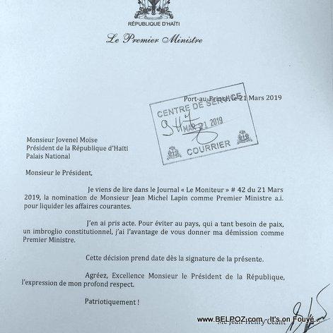 Lettre de démission du Premier Ministre Jean Henry Ceant