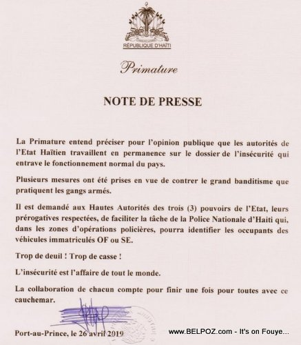 Haiti : Note from La Primature - Official and State Licence plates must stop at police checkpoints