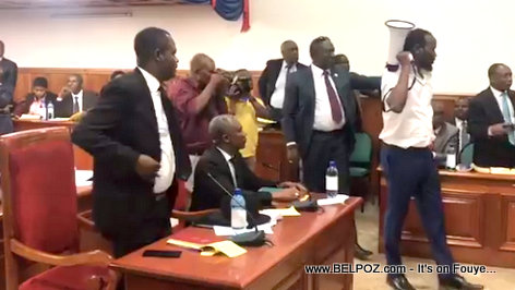 Haiti opposition Senator Don Kato walks around with megaphone in Senate to disturb the ongoing session