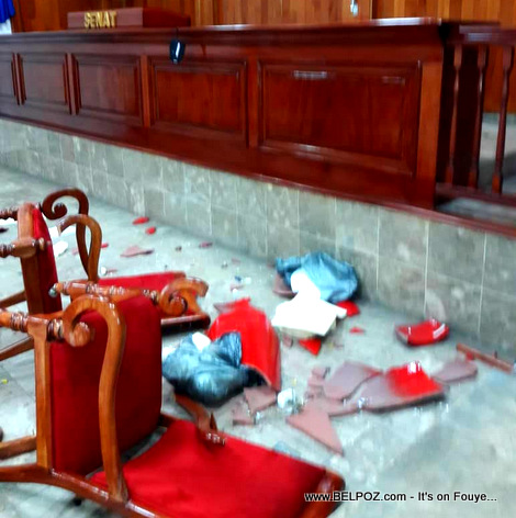 Delicate chairs of Haiti's prestigious senate destroyed by the opposition Senators