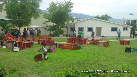 The yard at Haiti's Parliament, furnitures scattered all over the place!