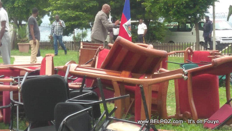All the Haiti Senate funitures lay outside in the yard, opposition senators took them out to block PM ratification