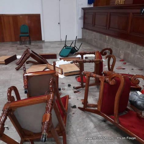 Haitian senate floor destroyed by 4 opposition Senators