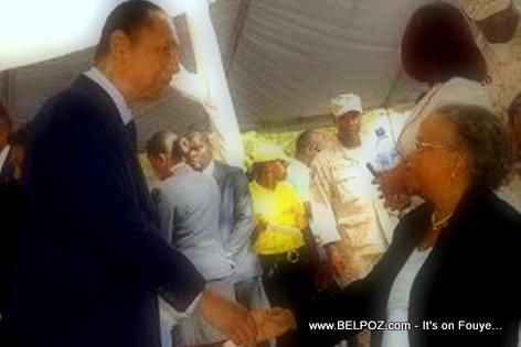 Jean Claude Duvalier salutes Mirlande Manigat - Lesly Manigat Funeral