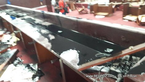 PHOTO: Problem at Haiti's Parliament, Chamber of Deputes ransacked ahead or PM Fritz William Michel ratification