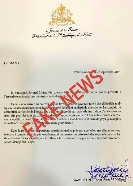 Fake Resignation letter of Haiti President Jovenel Moise