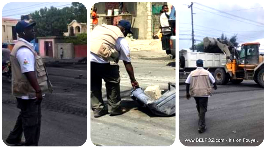 Vice-Delégué Gariga Narcisse Cleaning the streets of Croix-Des-Bouquets Haiti after the protests