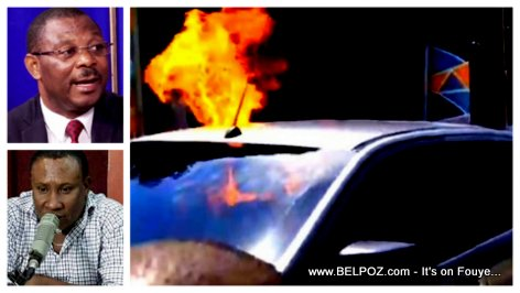 Vehicle of President Jovenel Adviser set on fire after a heated debate on Jean Monard's RANMASSE