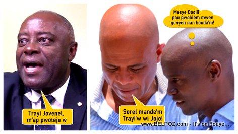 Senator Sorel Jacinthe, ex President Michel Martelly, President Jovenel Moise